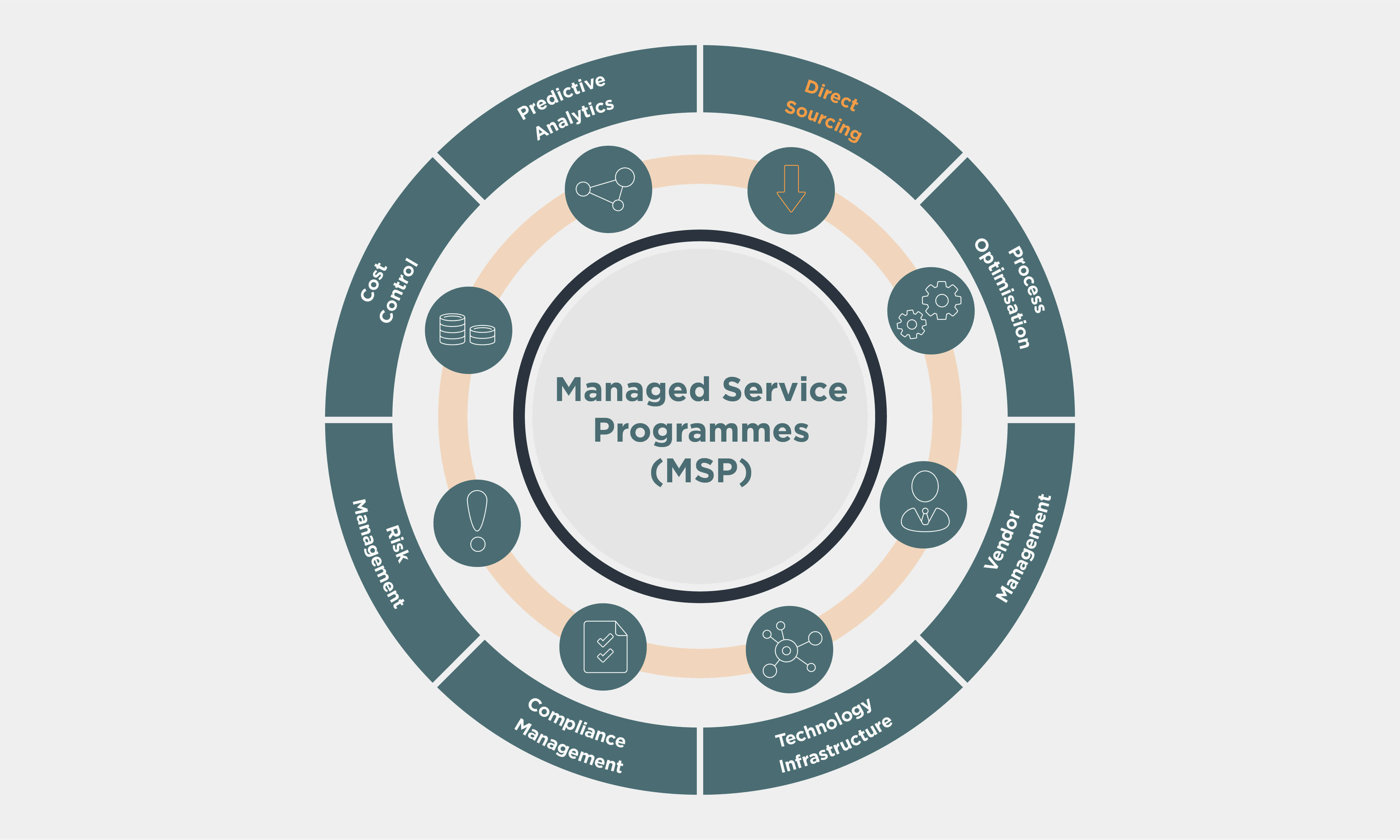 Managed Service Programmes (MSP) wheel with Direct Sourcing highlighted in orange