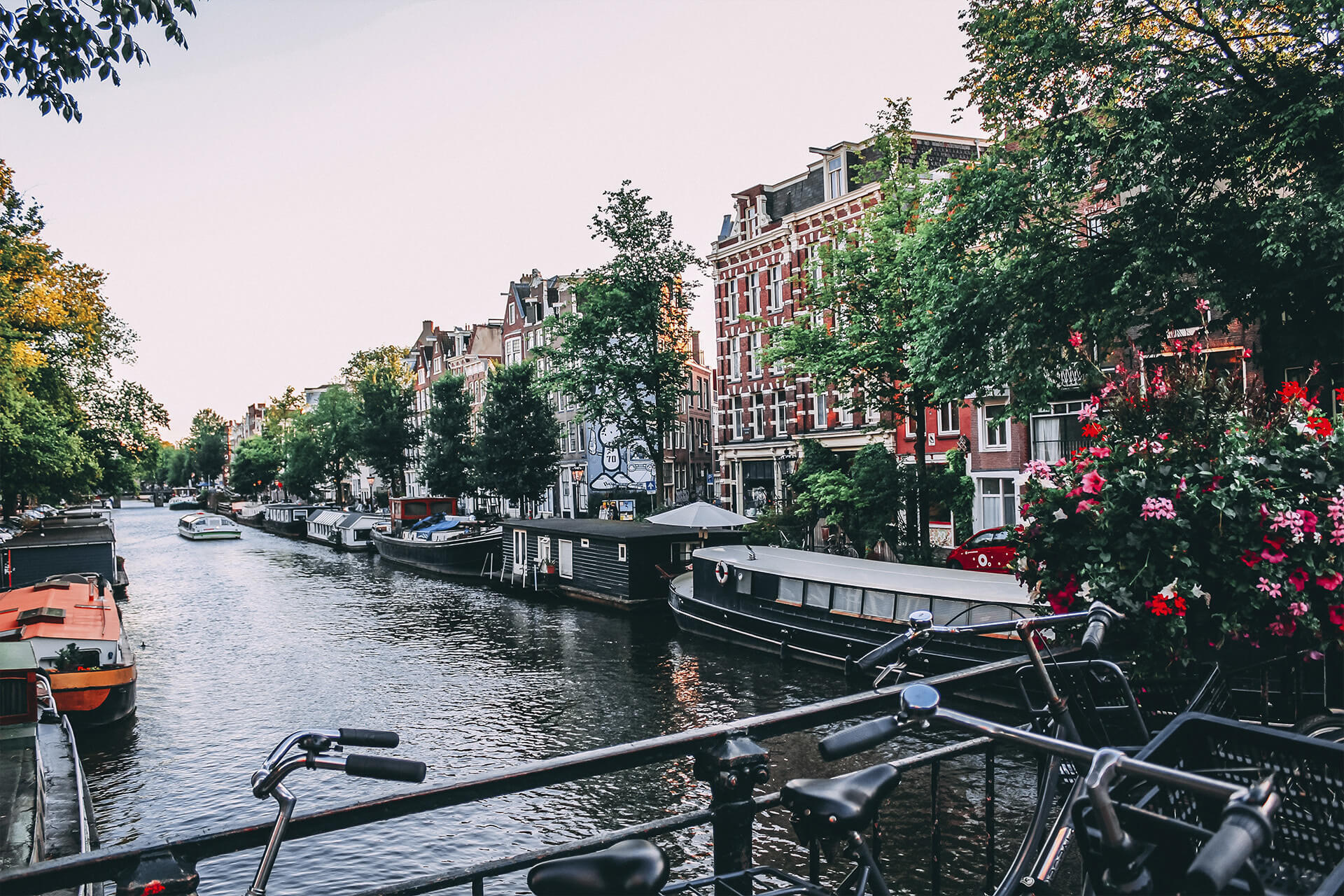 A photo of a river in Amsterdam