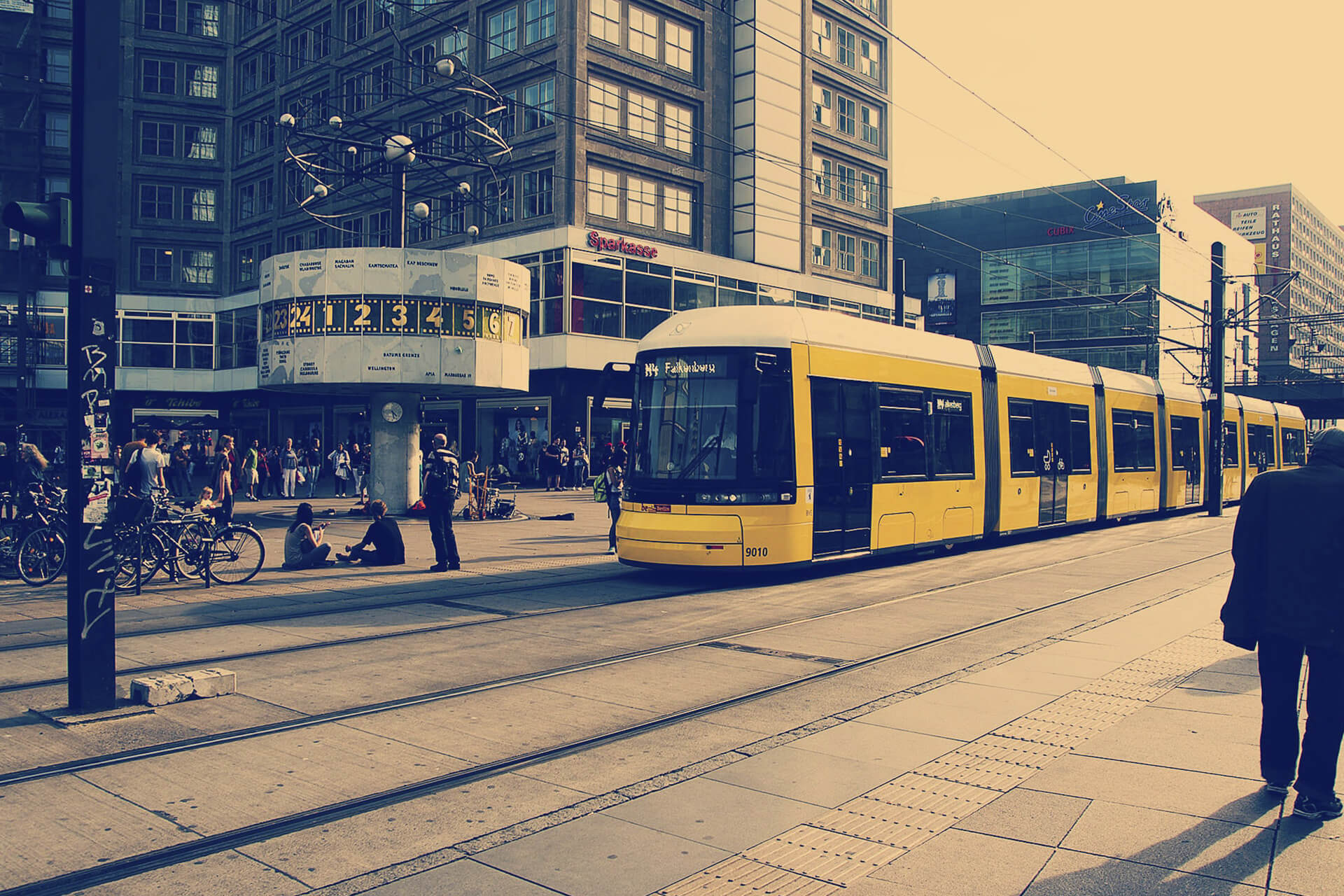 A filtered photo of a tram in central Berlin