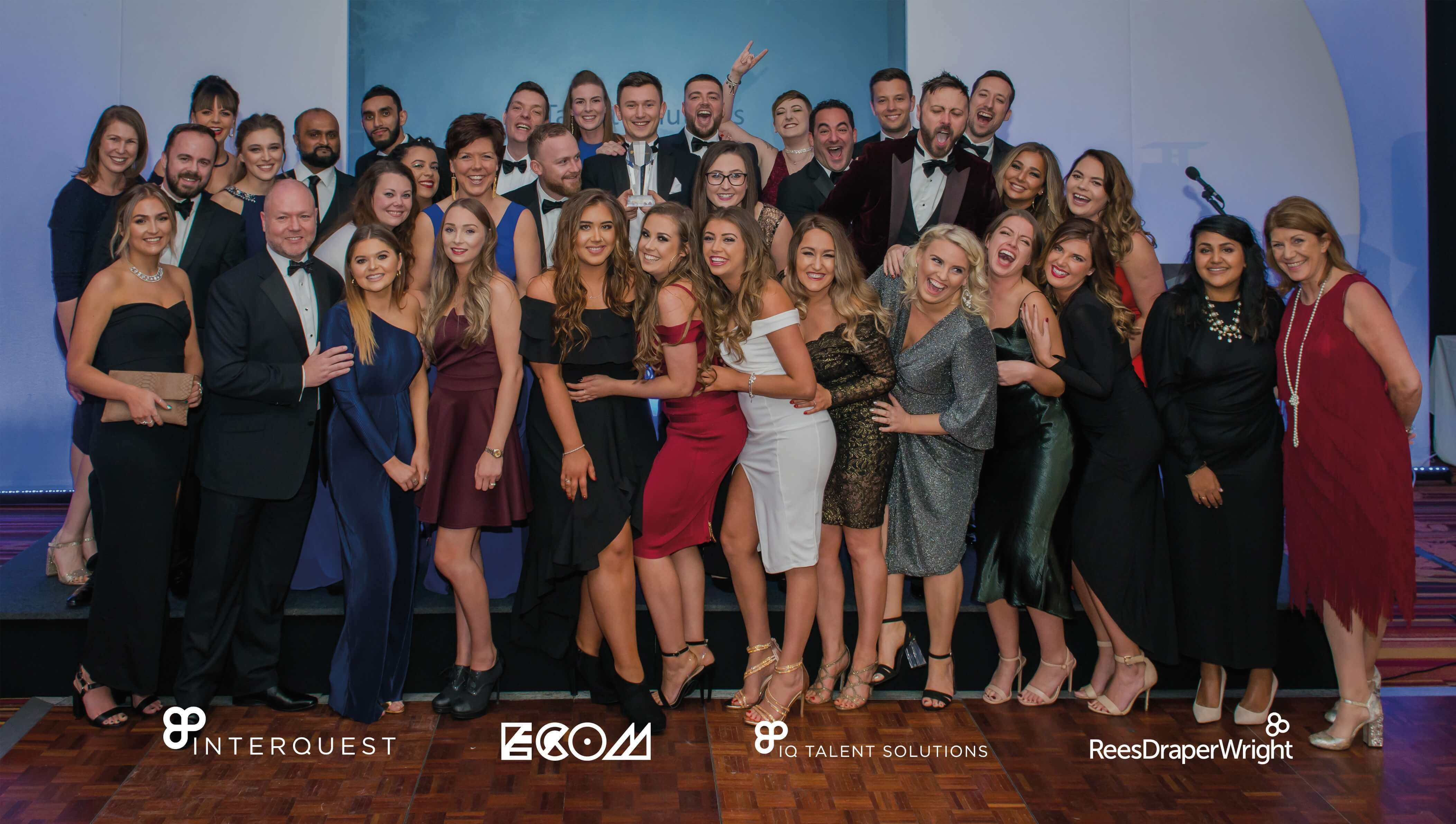 A group photo of all IQ Talent Solutions staff at InterQuest Group's Christmas Party 2018