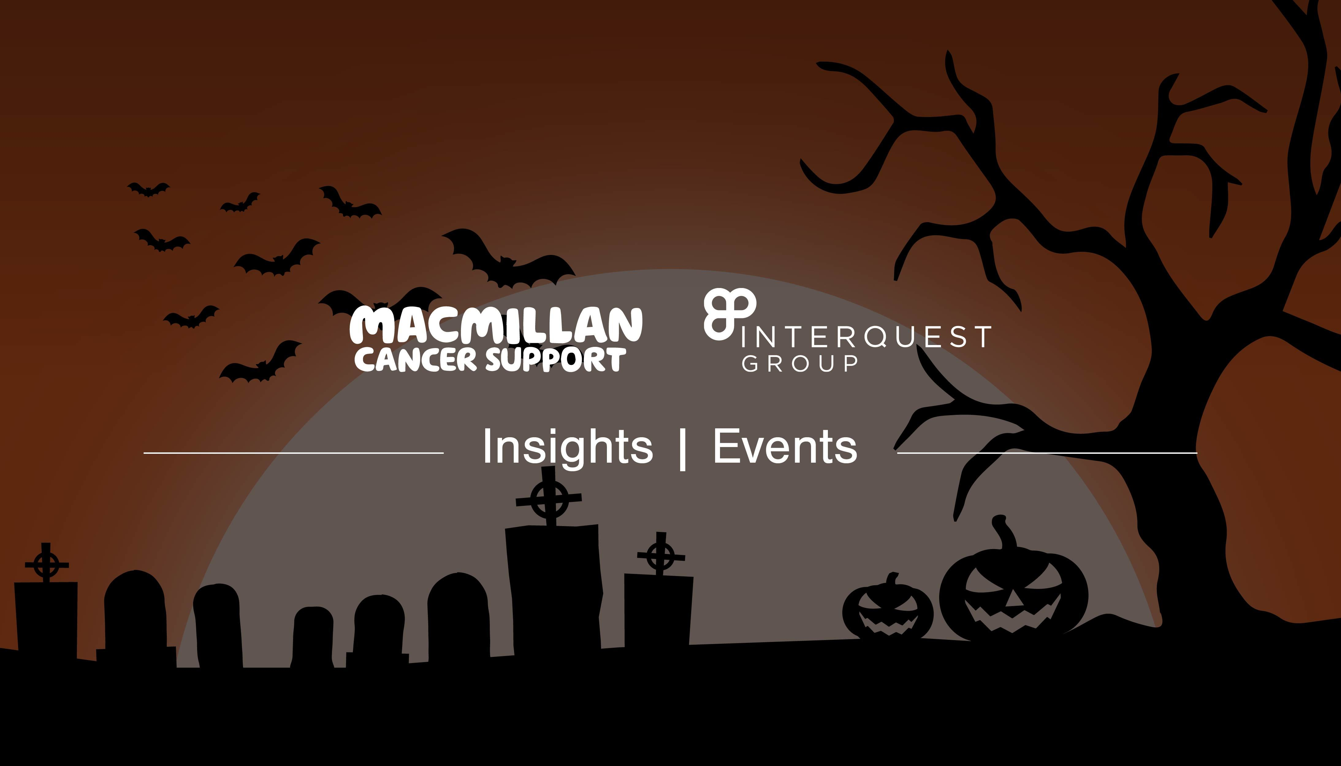 Halloween blog banner with InterQuest Group and Macmillan Cancer Support logos white