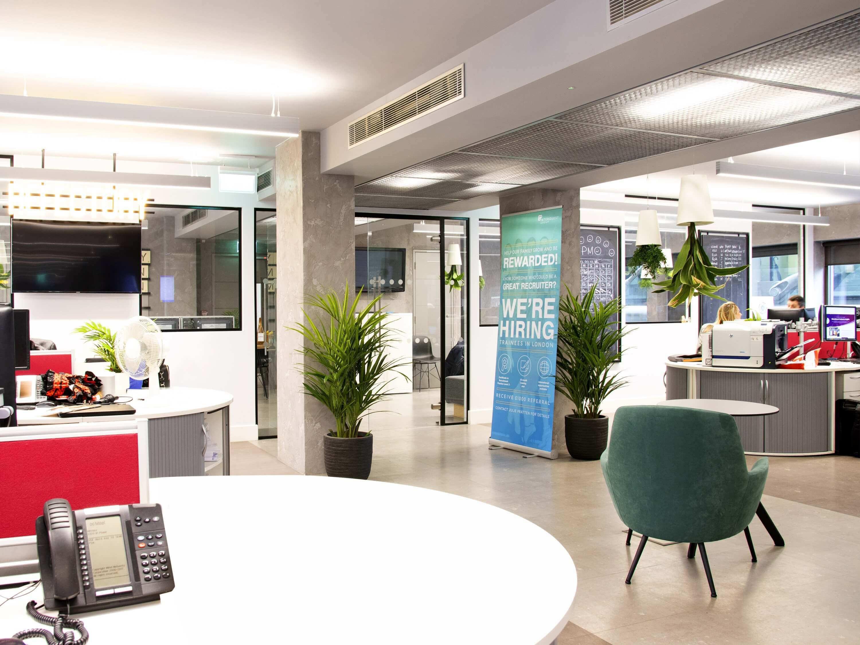 A interior photo of InterQuest Group's London office, white desks green plants bright lighting