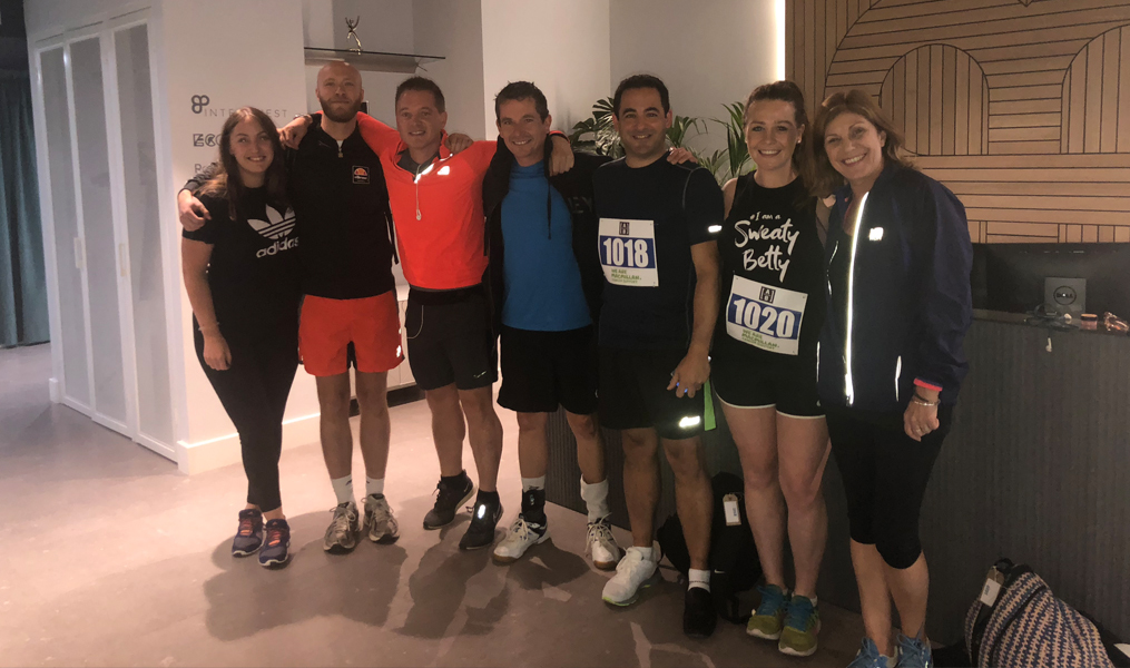 A group of InterQuest Group colleagues ready to run a marathon