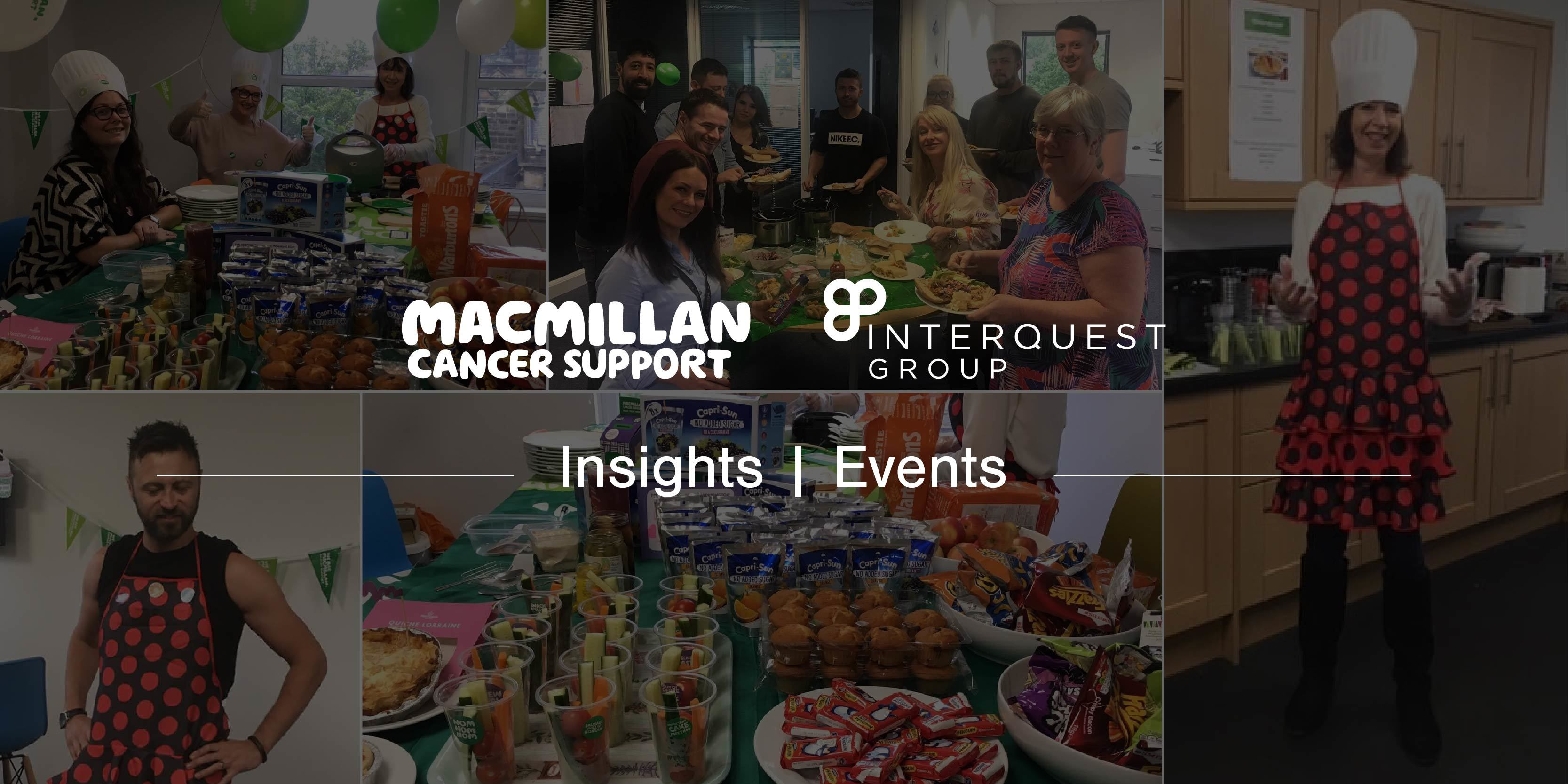 White Macmillan and InterQuest Group logos on collage background of photos from Macmillan Coffee Morning