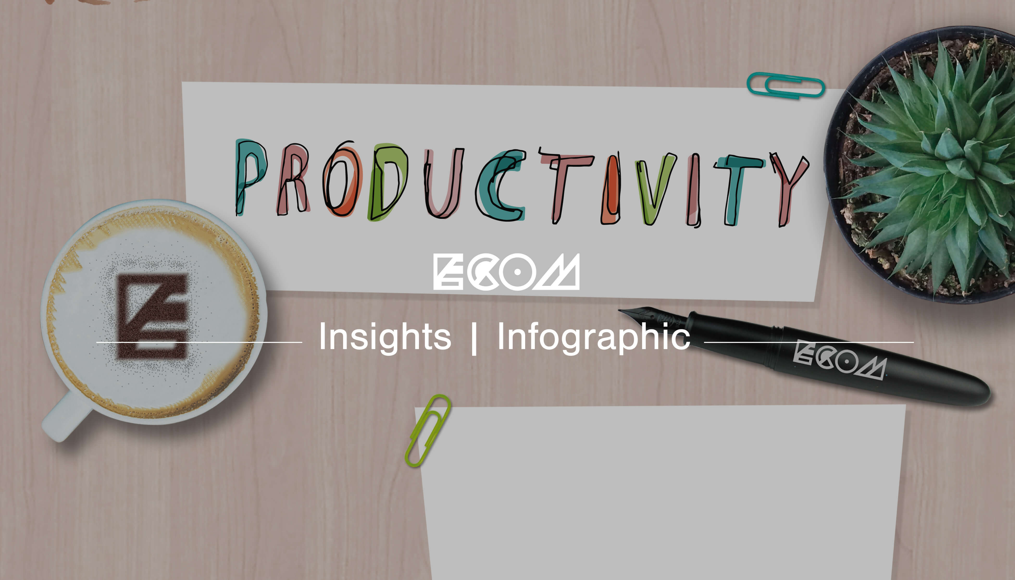 An ECOM branded insights banner for an infographic about productivity
