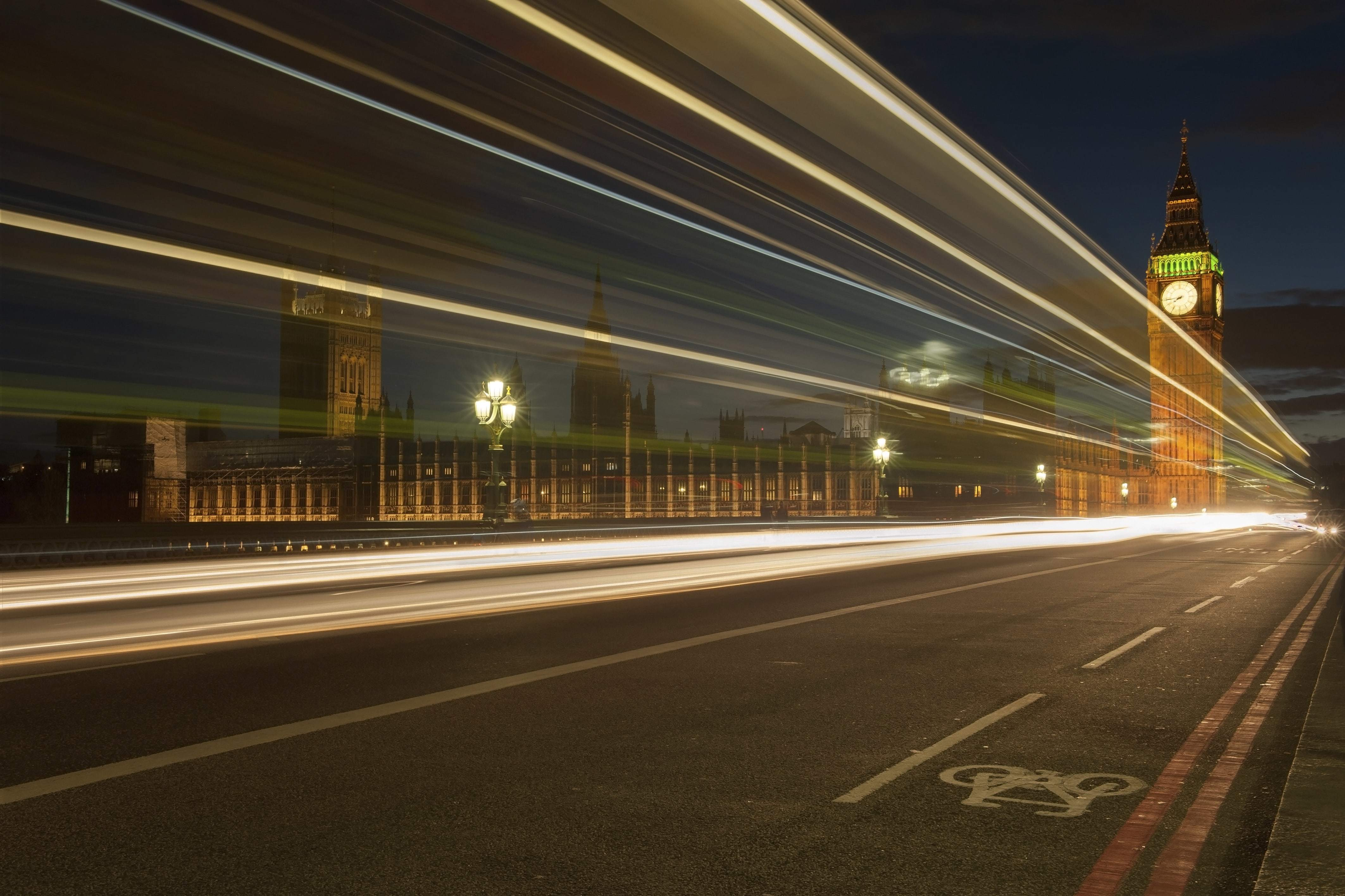 Light trails photo in Central London, Big Ben