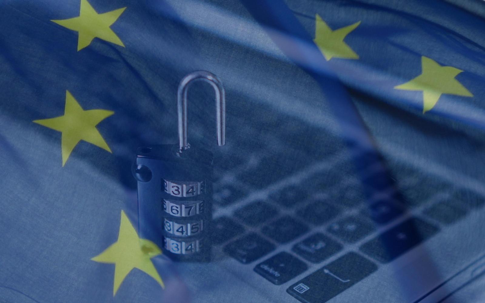EU flag overlay with laptop and padlock