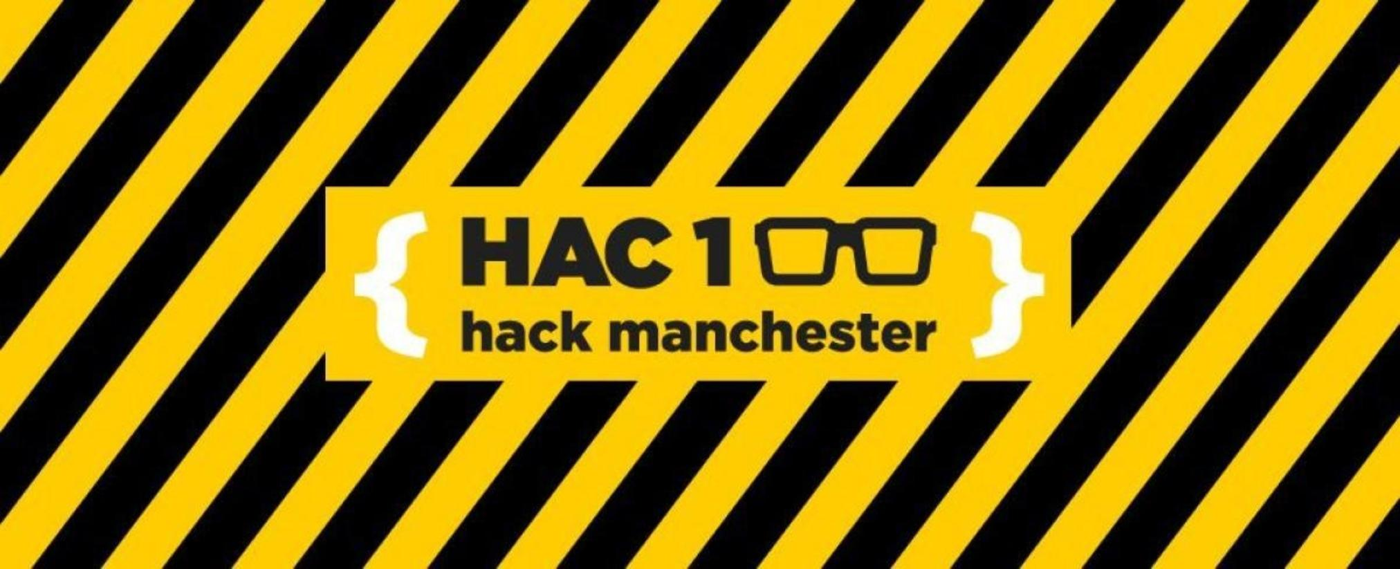 Hack Manchester yellow and black logo banner