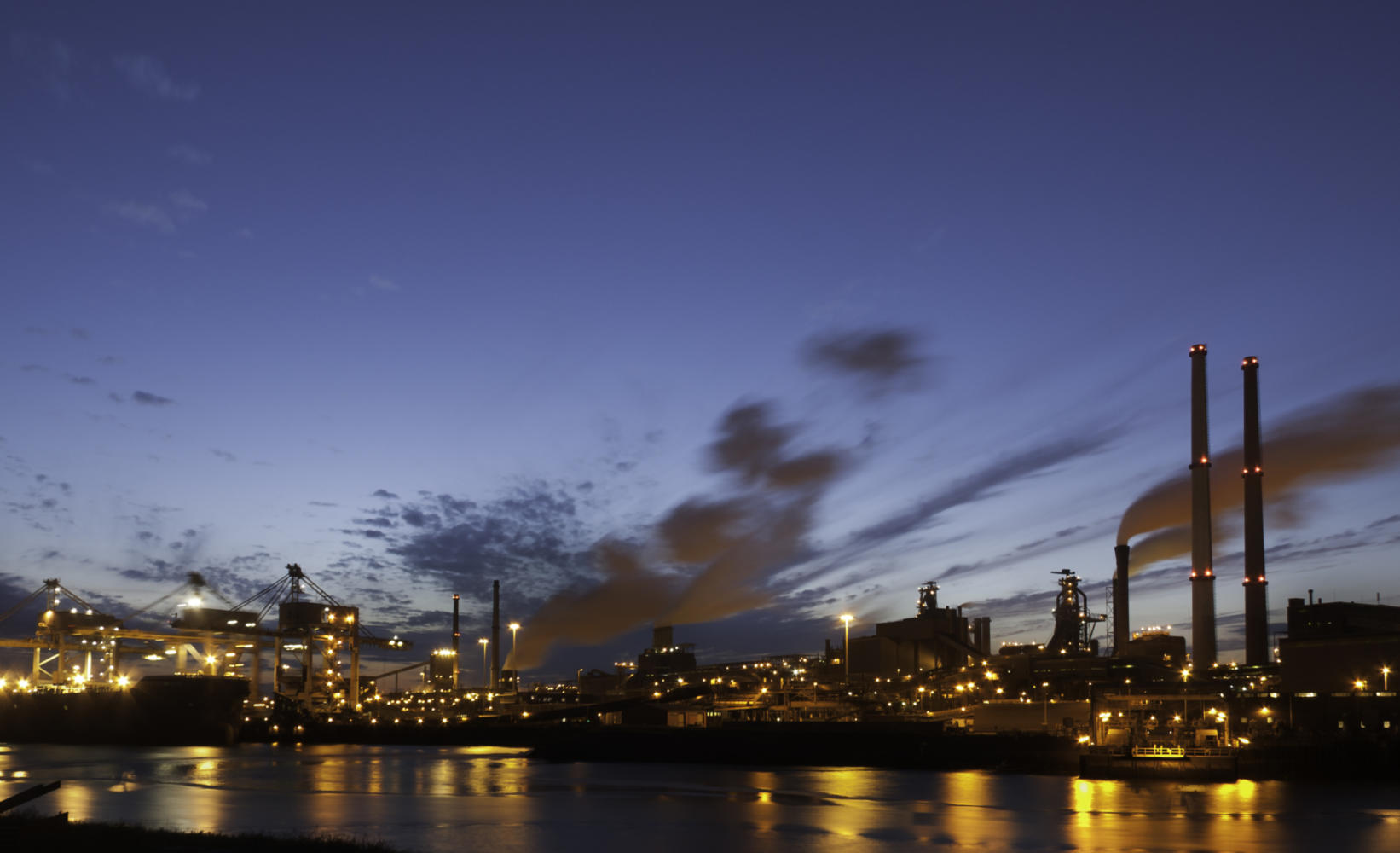 photograph of industrial buildings at dusk