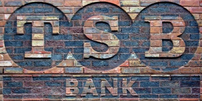 TSB Bank logo printed on a brick wall