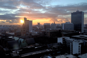 Sunset in Manchester city centre