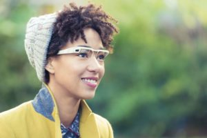 Woman using Google Glass